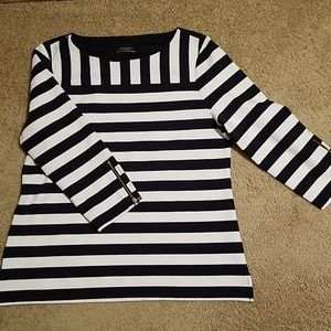 Women's Large 3/4 Sleeve Talbots Striped Top